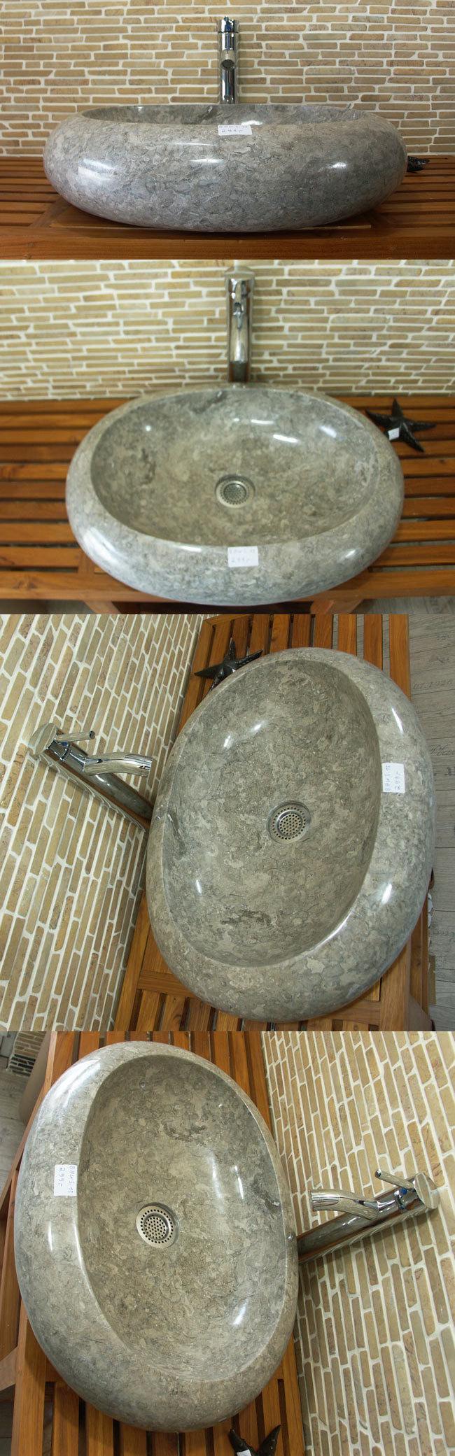 waschbecken aus marmor grau au en und innen poliert unikat baws15. Black Bedroom Furniture Sets. Home Design Ideas