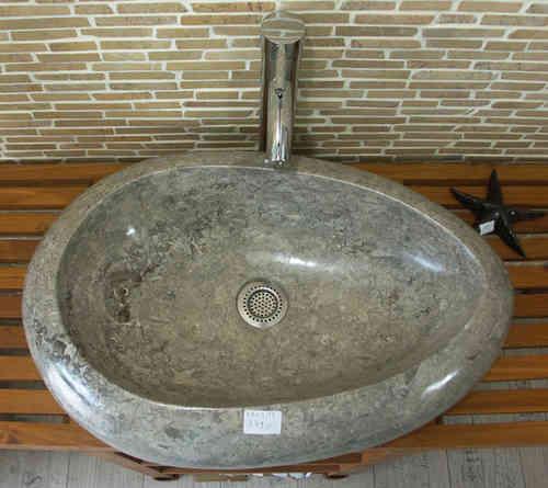 Marmor Waschbecken waschbecken aus grau meliertem marmor in form eines eis innen und