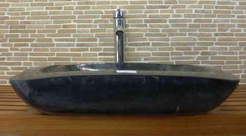 waschbecken aus schwarz meliertem marmor au en und innen poliert das besondere f r ihr bad baws20. Black Bedroom Furniture Sets. Home Design Ideas